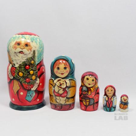 [디자인바운스]dm5s3-001 러시아인형 마트로시카(Matryoshka) 샤투라 5구 산타 No.3 '산타와 소녀들'